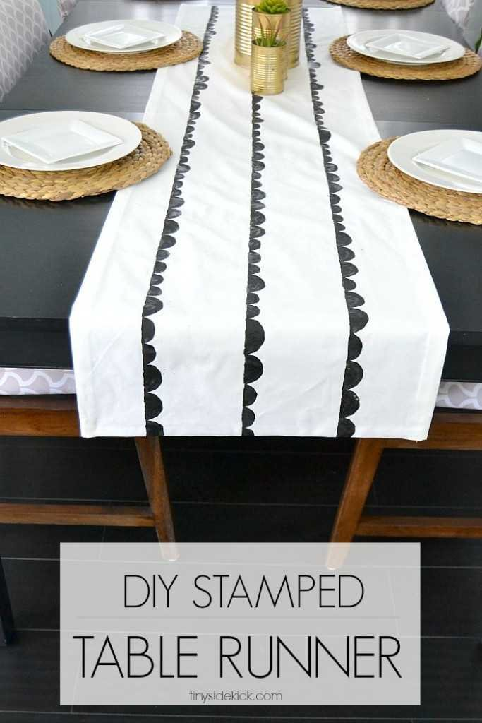 So fun and easy! DIY stamped table runner and you'll never believe what she used to create the scallop design!