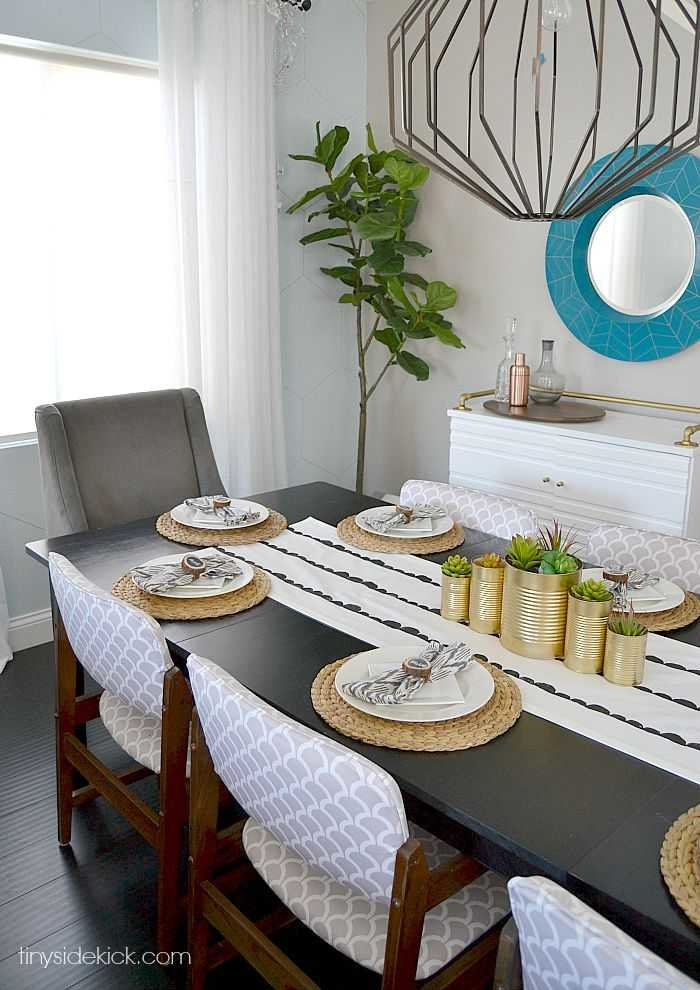 fall dining room with gold