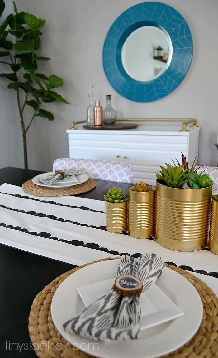fall tablescape with diy tablerunner
