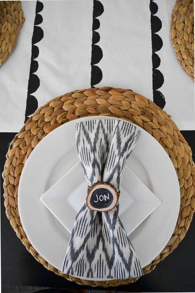 wood slice and chalkboard napkin rings