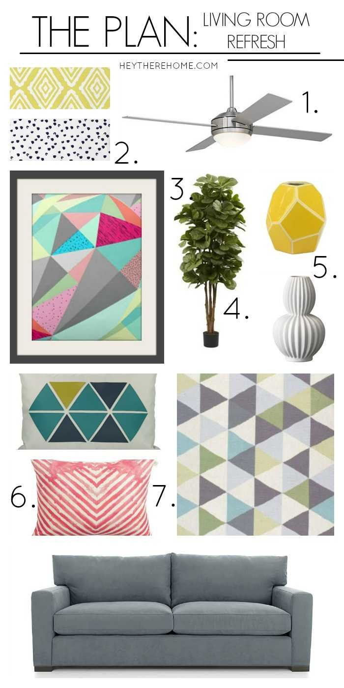 The plan for my family room refresh. Add some fun and pops of color to make the family room more inviting.