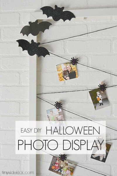 easy halloween photo display from a thrifted frame