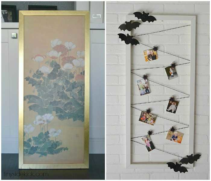 thrifted frame turned halloween photo display