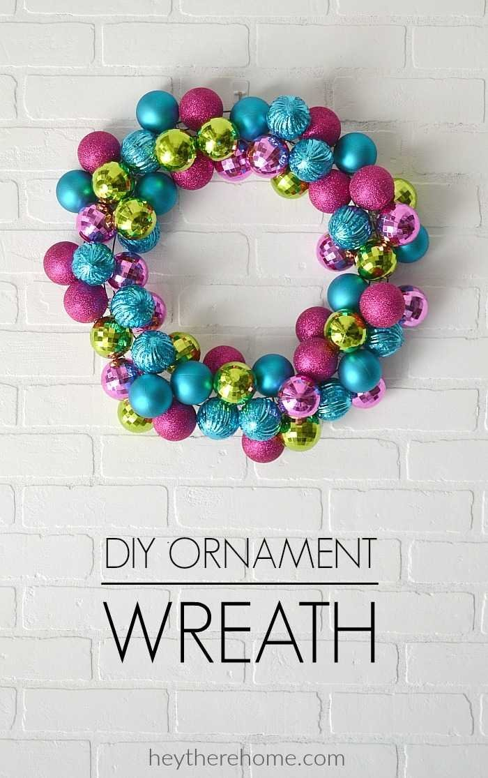 It's so much fun to create this easy DIY ornament wreath with all the fun colors you choose to display this Christmas! #wreath #Christmas #modern #ornament #DIY #Christmascraft