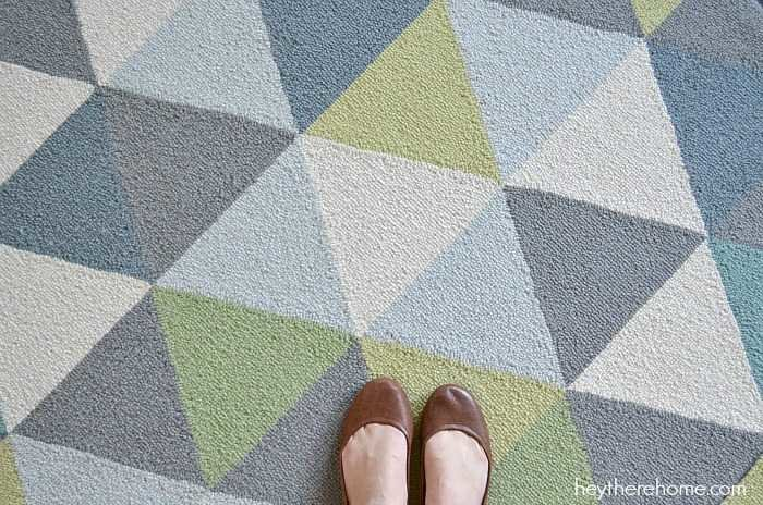 new geometric rug in the family room