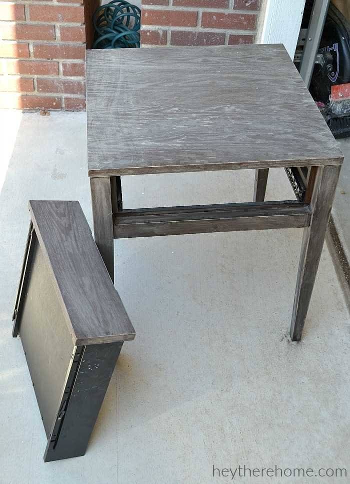 Painted Laminate Side Table Makeover