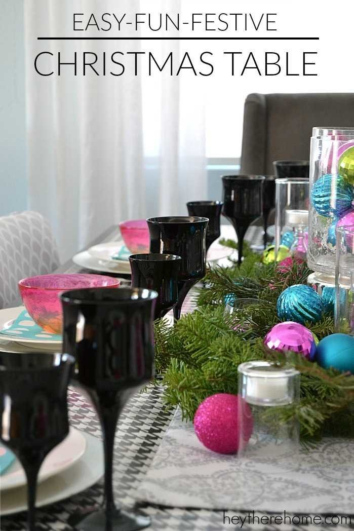 fun and easy christmas table decorations in non traditional christmas colors - Diy Christmas Table Decorations