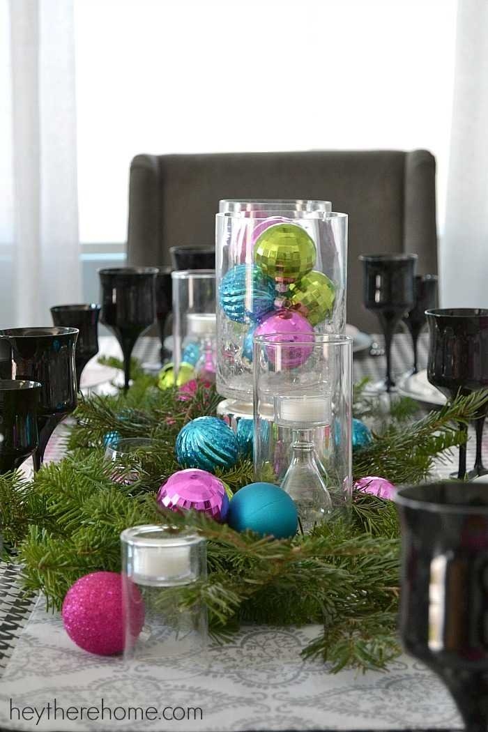 fun and easy christmas table decorations in non traditional christmas colors 4 - Diy Christmas Table Decorations