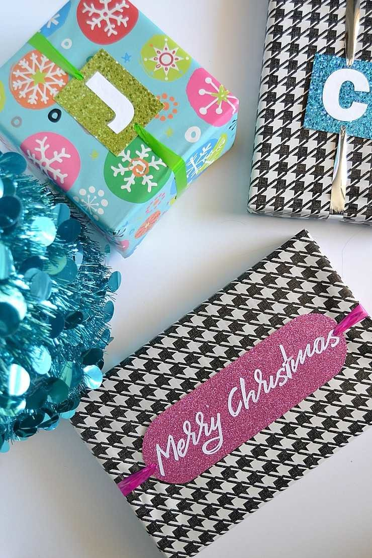 diy personalized glittery christmas gift tags