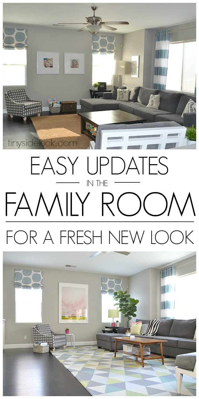Wow! Just a few smart changes and this room was totally transformed into a really comfortable and fun family room with a modern traditional style!