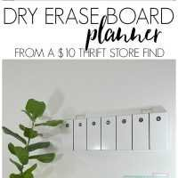 See how I created this easy DIY dry erase board weekly planner from a ten dollar thrift store find!