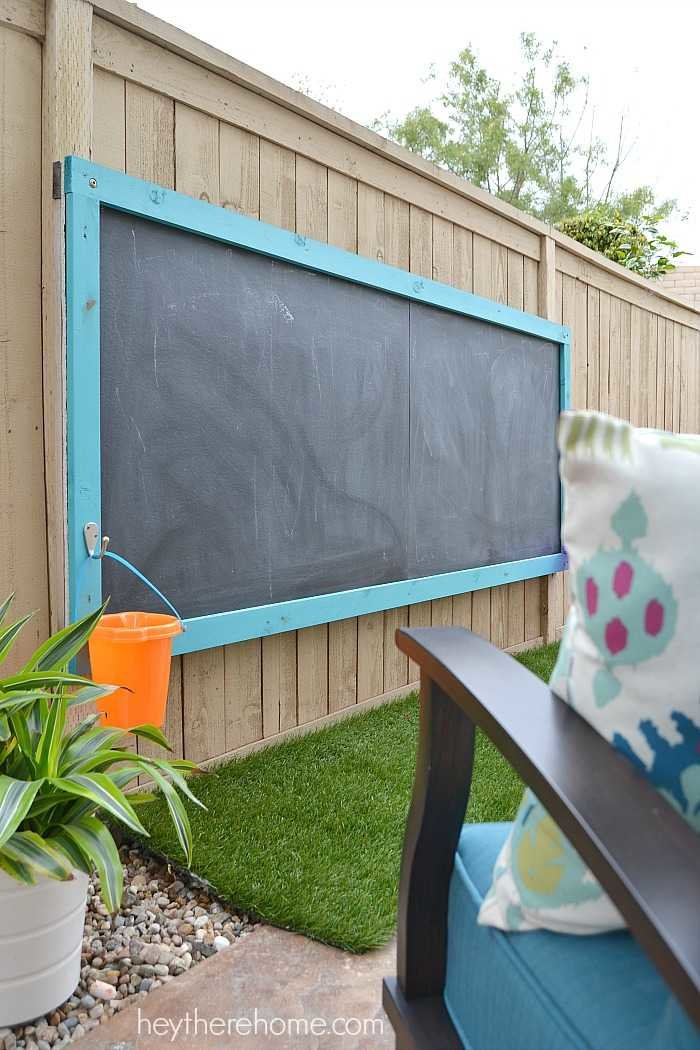 DIY outdoor chalkboard after 3 years