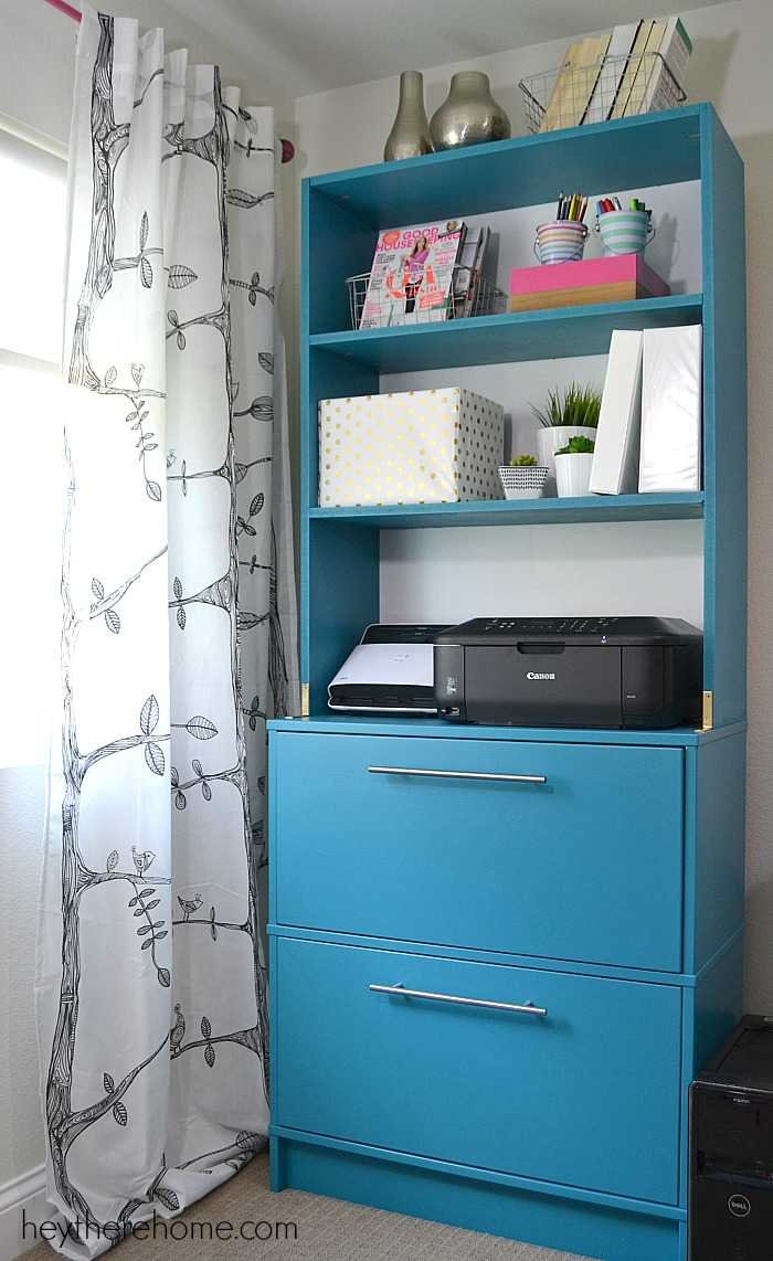 Who says a girl can\'t DIY shelves and make an old filing cabinet so ...