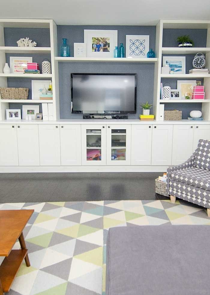 diy built in using ikea cabinets and shelves. Black Bedroom Furniture Sets. Home Design Ideas