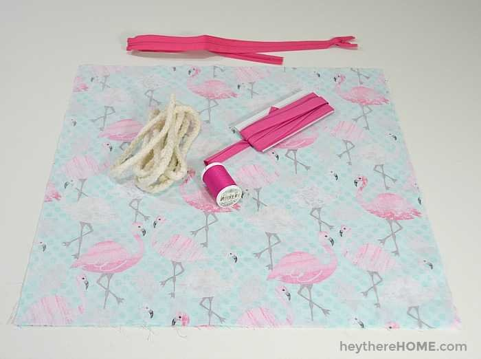 Supplies for how to sew a pillow cover with piping