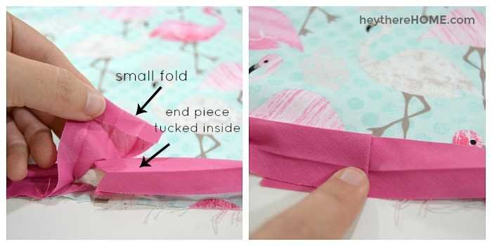 How to fold bias tape around pillow cording