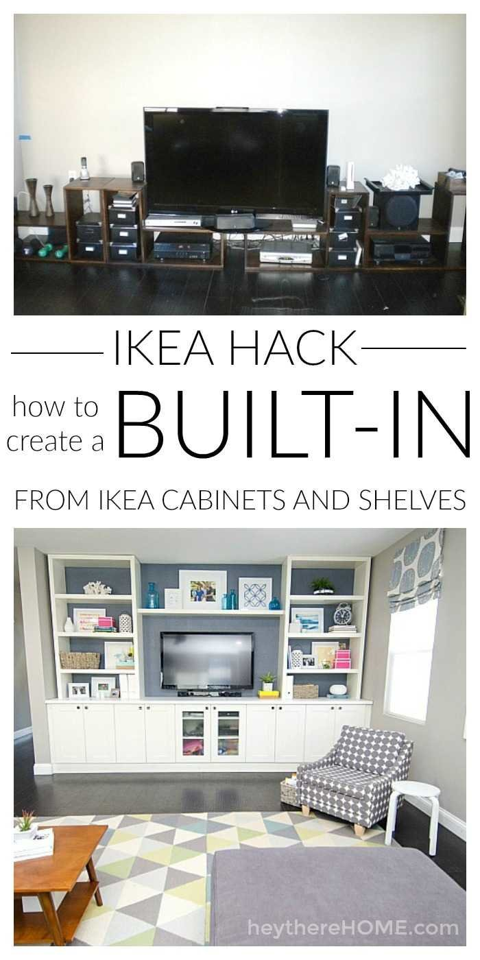 Mind blowing IKEA hack! You can save so much money if you know how to create your own built in using IKEA cabinets and shelves! Click through for how we did it.