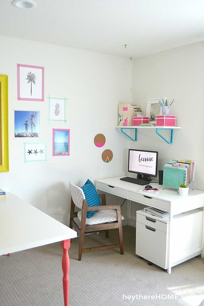 we finally have an organized and creative shared office space and craft room