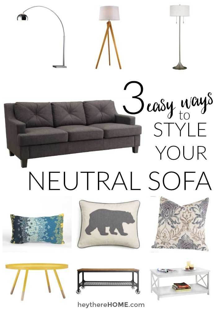 A neutral sofa is smart cause it will last, but pair it with the right furniture and accessories and you can still have a ton of style. You just need to know what style elements to look for!