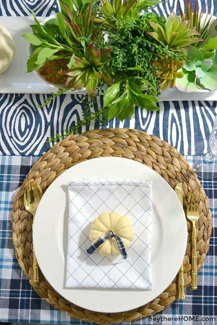 casual plaid fall tablescape