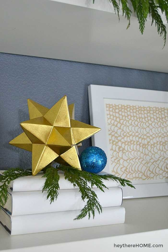 Christmas decorations with simple blue and gold