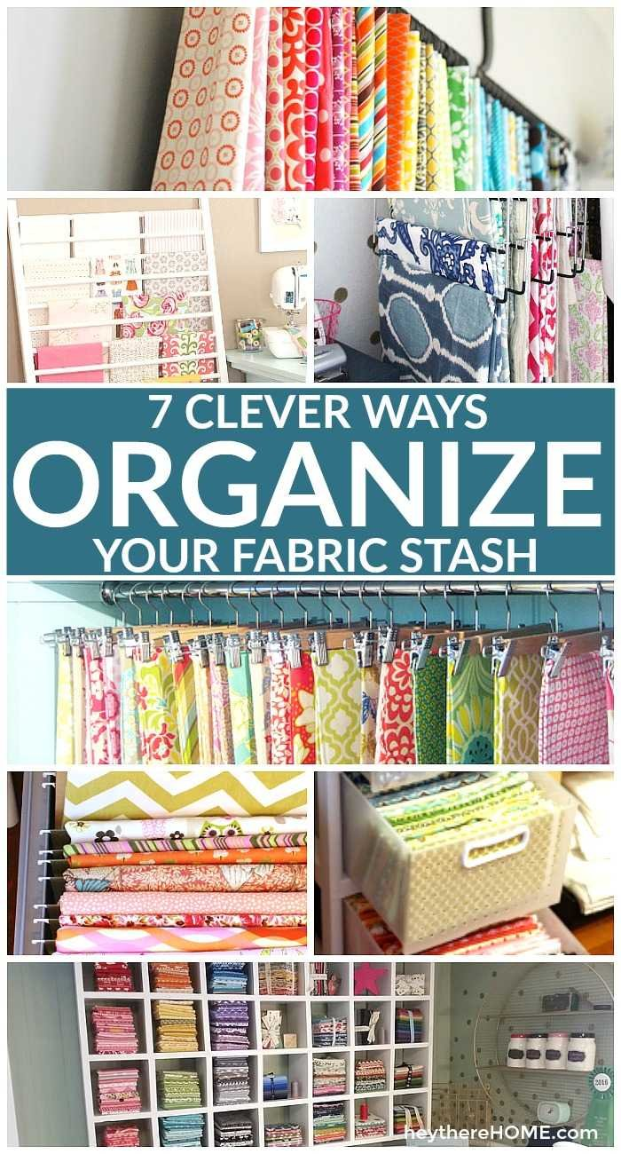 If you love to sew and have a fabric collection you will love these ideas to organize your fabric stash and make your craft room or sewing space one you want to create in! #fabric #craftrom #craftstorage #sewingprojects #sewingtutorial #sewingroom #organization #workspaces #craftorganization #organizing #handmade