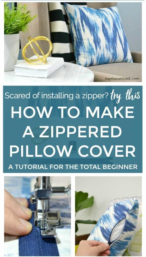 How to make a zippered pillow cover. Easy to follow tutorial with photos and a video so you can make your own throw pillows and easily switch up your home decor and give your space a new look. Perfect for pet friendly and kid friendly decorating.