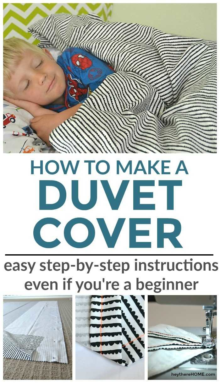 Easy step-by-step sewing tutorial to make your own twin duvet cover for your kid's bedroom. Can be easily modified to make a larger size duvet cover too.