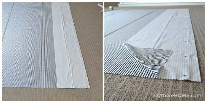 how to attach the fabric panels to make a twin duvet cover