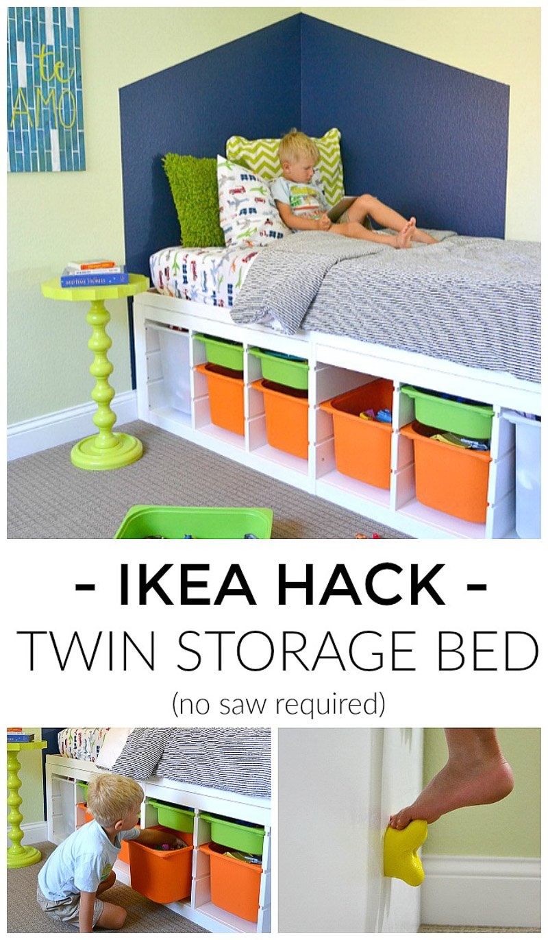 DIY storage bed using IKEA shelves