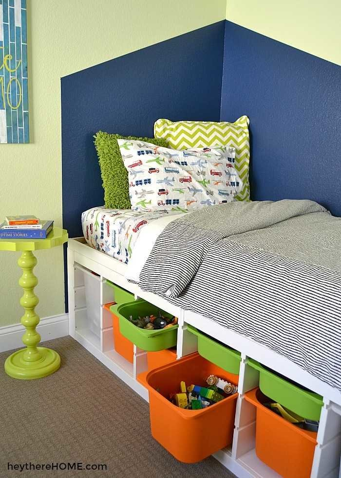 DIY twin bed frame with storage