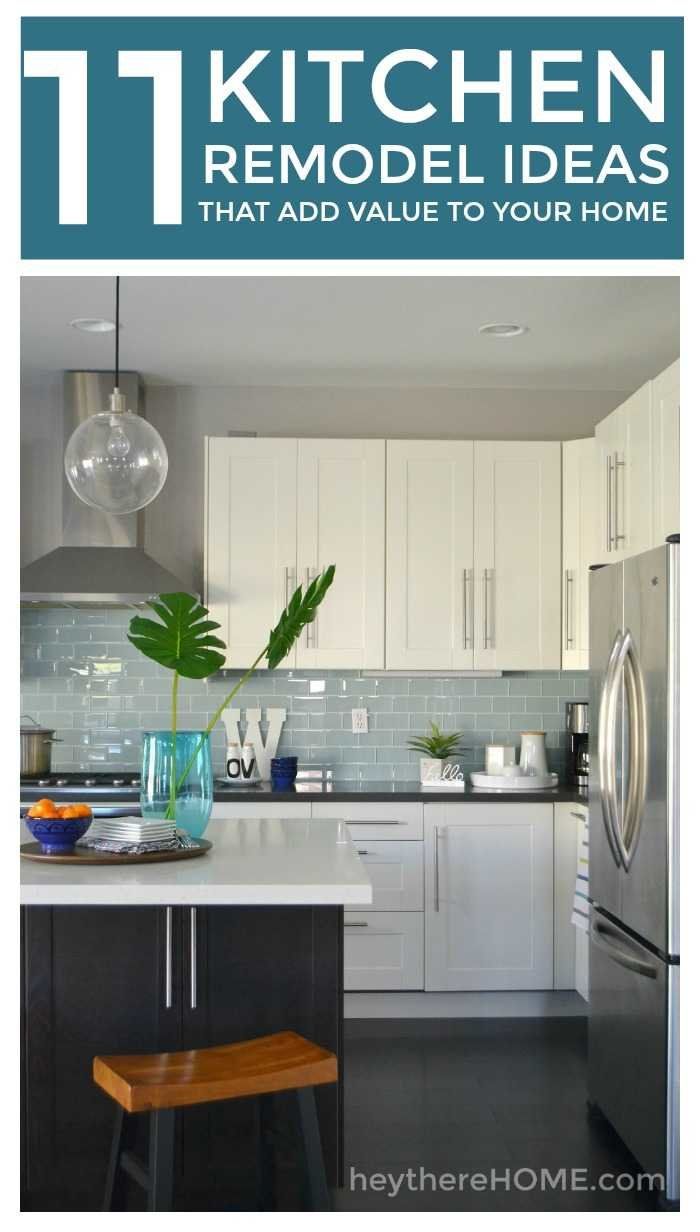 Doing a kitchen remodel? 11 ideas to add value to your home during a kitchen remodel. #kitchen #remodel #diyprojects #coastalkitchen #blueandwhitekitchen #glasssubwaytile #laminatefloor #pendantlighting #kitchenisland