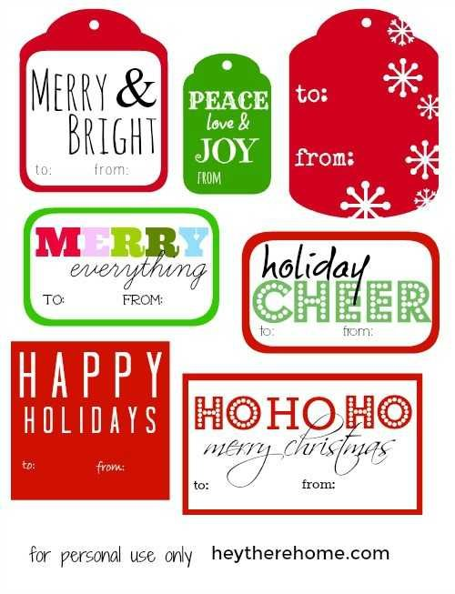 Christmas to from gift tags