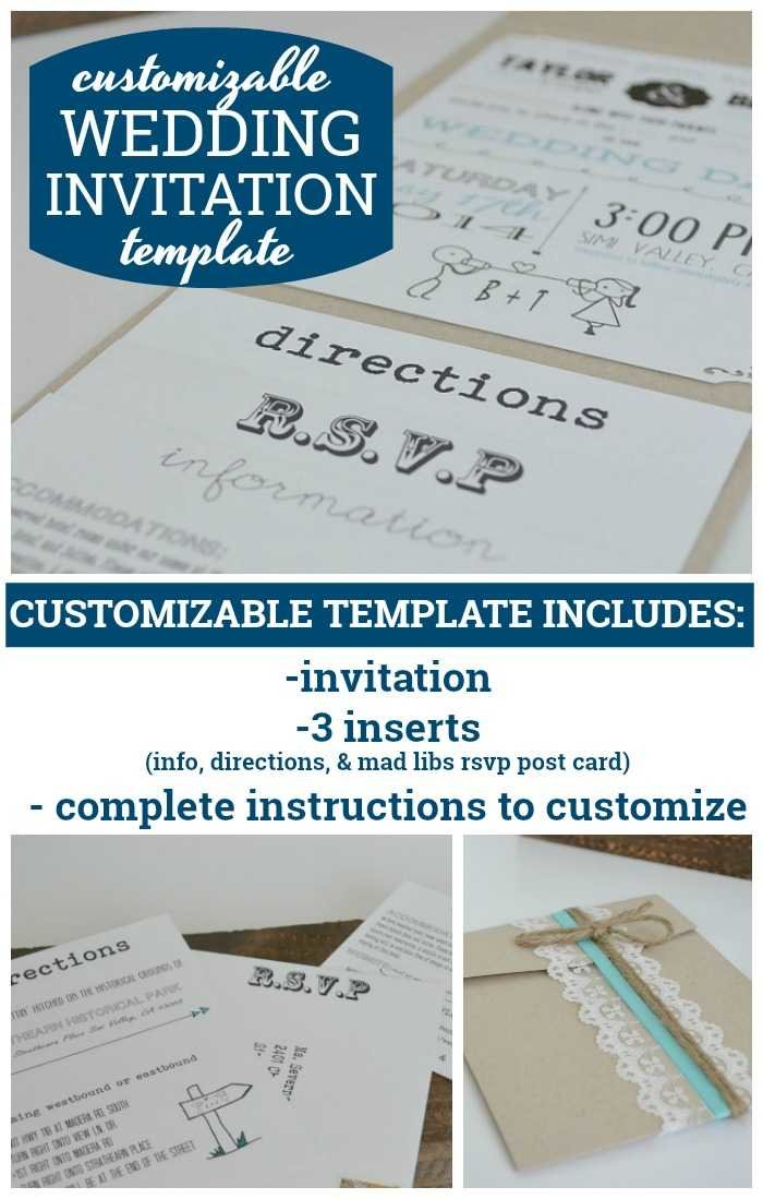Customizable wedding invitation template with inserts customizable wedding invitation template stopboris Images