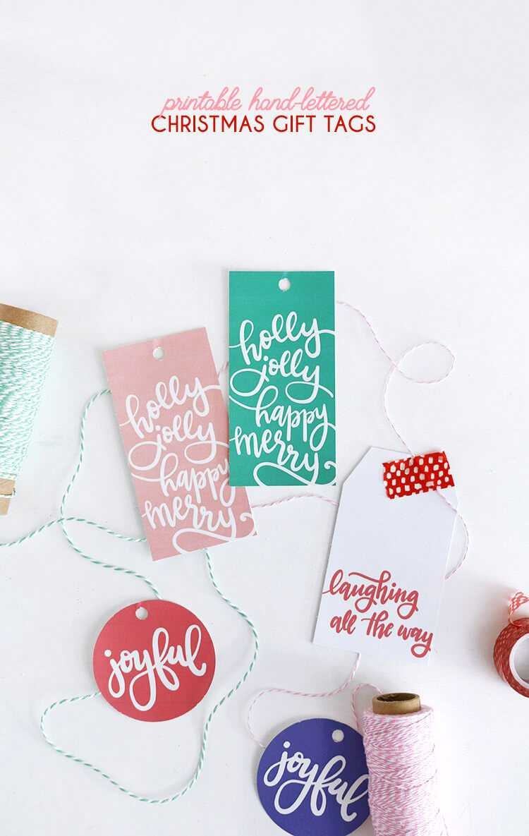 Free printable handlettered Christmas gift tags