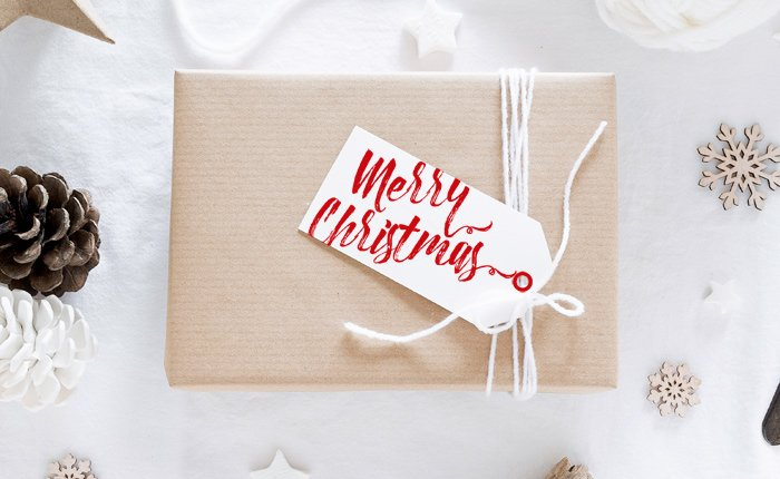 Script merry christmas gift tag