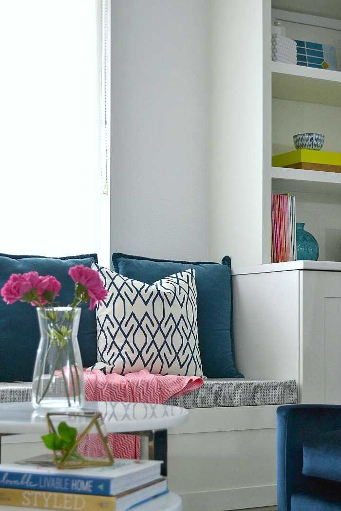 DIY window seat with bench cushion