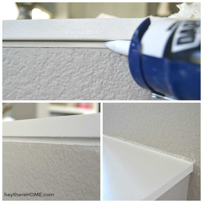 calk molding on capped half wall