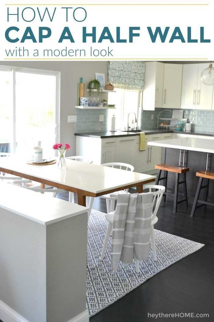 Simple step-by-step tutorial for how to cap a half wall with a really clean and modern look. #DIYproject #DIY #kitchen #openconceptliving #coastaldecor #woodworking #homerenovation #homeimprovement #homedecor #decorating #design #decoratingideas
