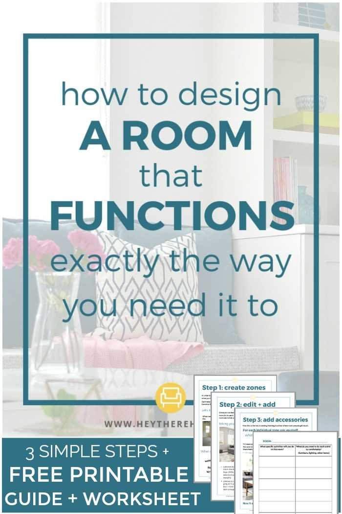 3 steps to design a super functional room for you and your family with free printable guide and worksheet