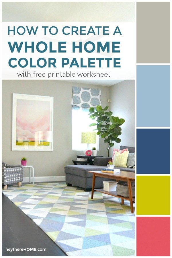 how to create a whole home color palette with free worksheet