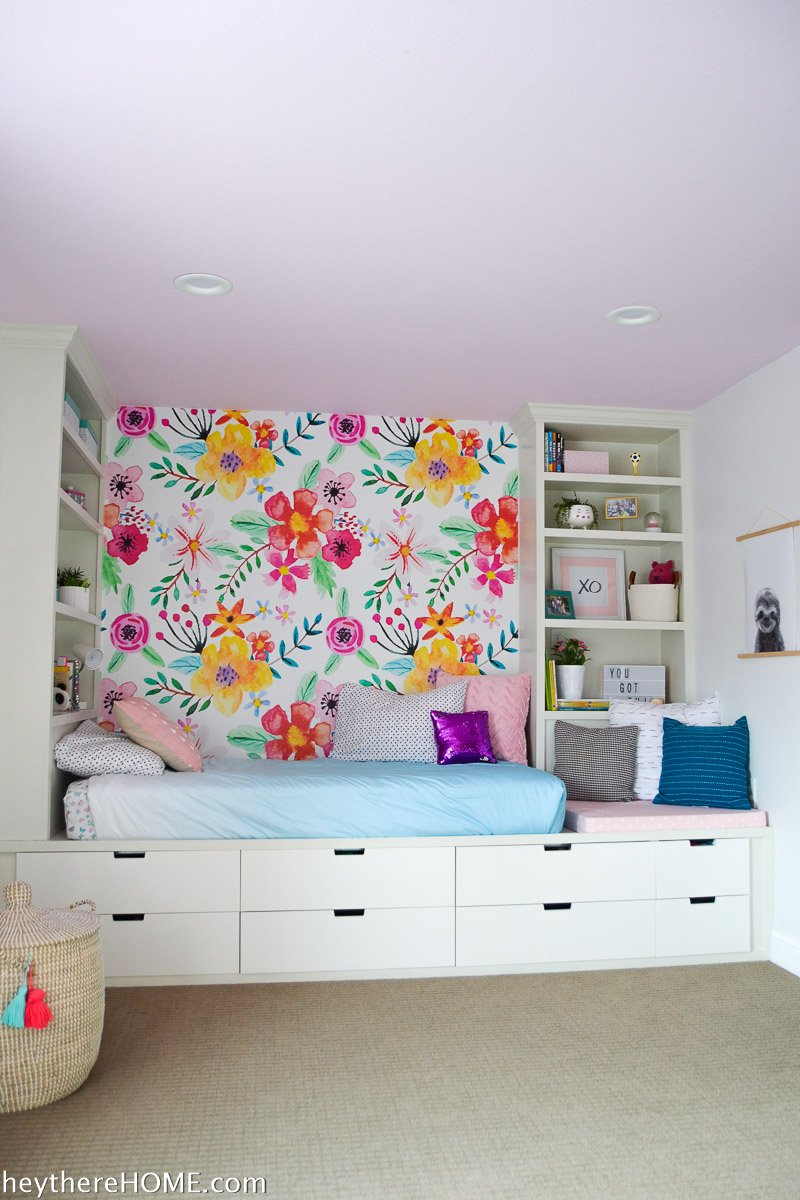 painted ceiling in girl's bedroom