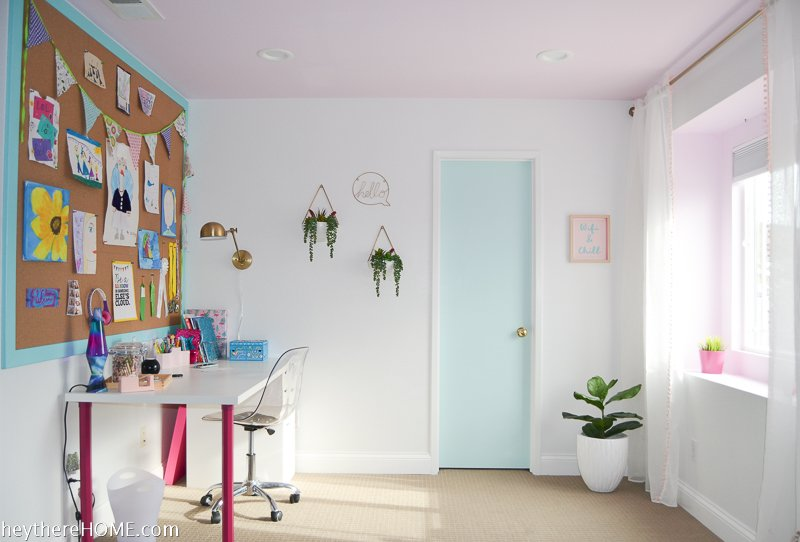 painted closet door to add color in girl's bedroom