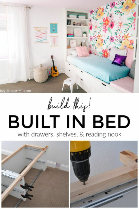 DIY Bed – Built in Bed With Drawers, Shelves, and Reading Nook