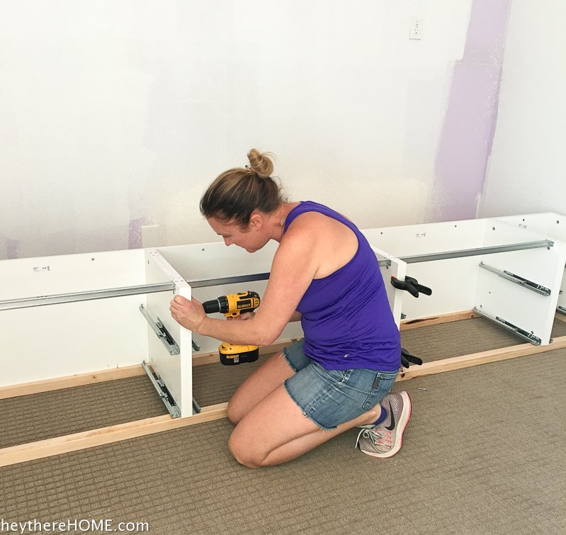 joining shelves for diy platform bed