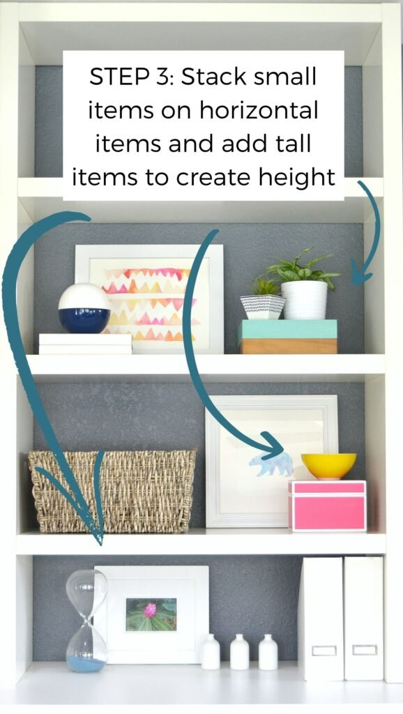 small shelf decor stacked adds height