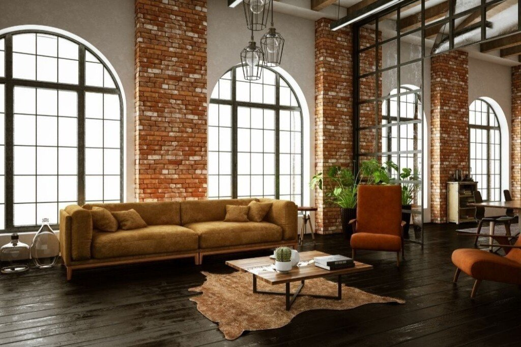 Industrial style living room with exposed brick walls and windows