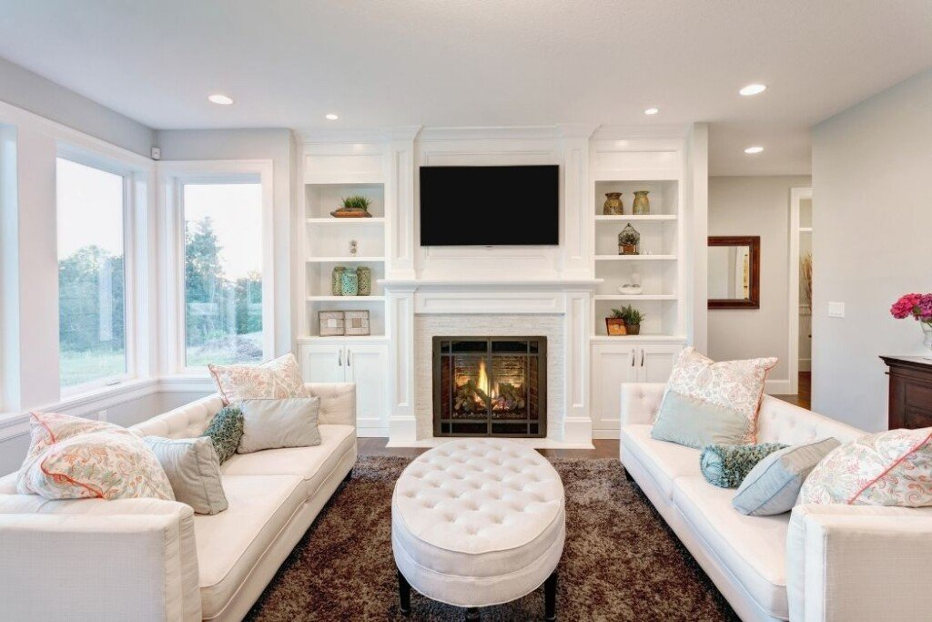 american traditional style interior design with light color palette and symmetrical layout