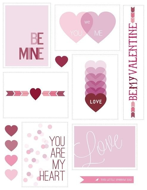 Free printable valentines with red and pink heart design for kids or adults