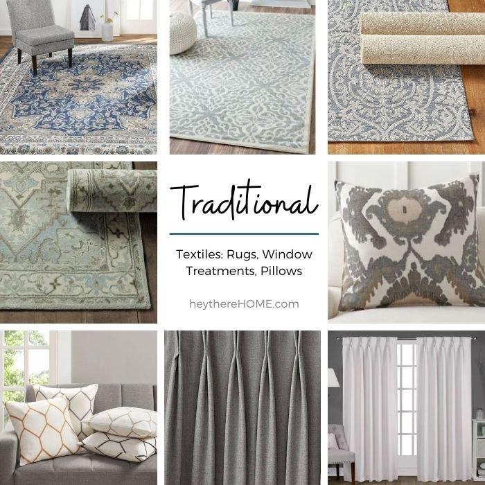 Traditional rugs and window treatments